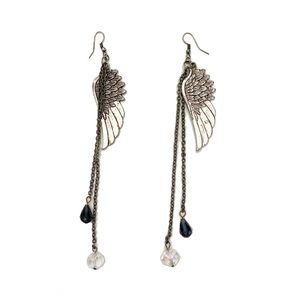 Angel wings dangle silver beaded earrings